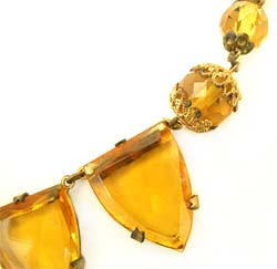 1930's Topaz Glass & Brass Necklace