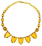 10011 Topaz Glass & Brass Necklace