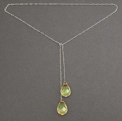 1920's Green Crystal Briolette &amp; Sterling Silver Lariat Necklace