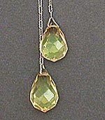 10035 1920's Green Crystal & Sterling Silver Lariat Necklace