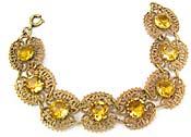 10067 1930's Topaz Glass & Brass Bracelet