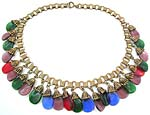 10083 1930's Gilded Brass Bookchain and Glass Dangles Necklace