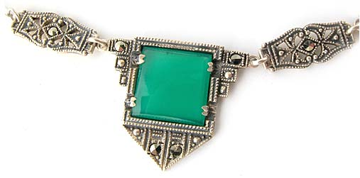 Art Deco Sterling Silver and Chrysoprase Necklace