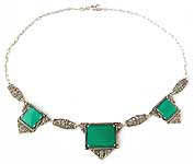 10089 Art Deco Sterling Silver and Chrysoprase Necklace