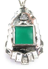 Art Deco Sterling Silver, Chrysoprase, and Marcasite Pendant