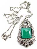 10090 Art Deco Sterling Silver, Chrysoprase, and Marcasite Pendant