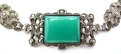 Art Deco Sterling Silver, Chrysoprase, and Marcasite Bracelet