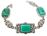 10091 Art Deco Rhodium Plated Sterling Silver, Chrysoprase, and Marcasite Bracelet
