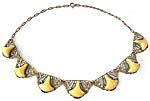 10125 1930's Brass Filigree & Yellow Satin Glass Necklace