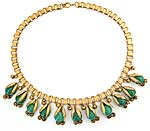 10126 Victorian Gilded Brass & Peking Glass Bookchain Necklace