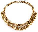 10129 1930's Gilded Brass Dangle Necklace