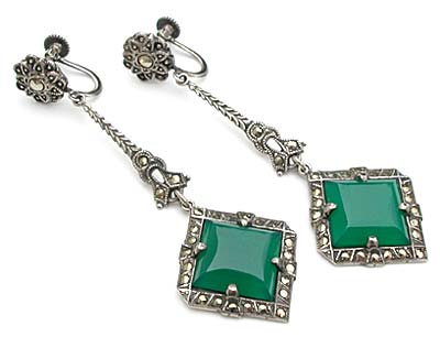 10161 Art Deco Sterling Silver, Chrysoprase, and Marcasite Earrings