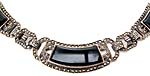 10168 Art Deco Onyx, Marcasite & Sterling Silver Necklace