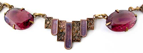 10171 1930's Amethyst Glass, Guilloche Enamel and Brass Necklace