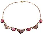 10171 1930's Amethyst Glass, Guilloche Enamel & Brass Necklace