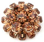 10408 Weiss Amber Rhinestone Brooch