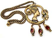 10414 Vintage Brass Nefertiti Pendant