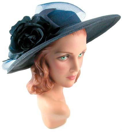 Vintage Orcelia Navy Blue Straw Hat Amber S Attic 10510