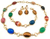 10537 Vintage Gold Filled Scarab Parure