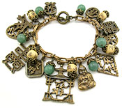 10542 Vintage Peking Glass & Brass Charm Bracelet