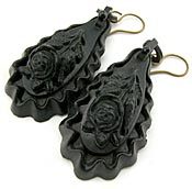 10601 Victorian Vulcanite Earrings