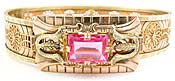 10639 Edwardian Filigree Pink Glass Jewel Bracelet