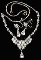 10645 Bogoff Rhinestone Necklace Earrings Set