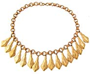 10717 Victorian Gold Washed Brass Fringe Necklace