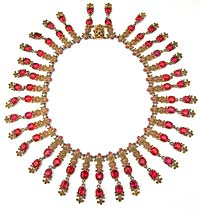 10722 Victorian Brass &amp; Red Glass Necklace