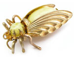 10734 Vintage Brass &amp; Yellow Satin Glass Bug Pin