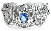10736 Vintage Filigree & Sapphire Glass Bracelet