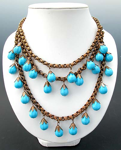 Victorian Turquoise Glass and Brass Fringe Necklace- Amber's Attic (10737)