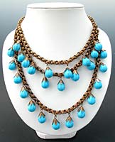 10737 Victorian Turquoise Glass & Brass Festoon Necklace