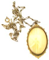 10738 Vintage Brass & Yellow Star Glass Pendant