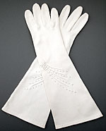 10759 Long White Cotton Dress Gloves