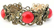 10766 Vintage Brass & Red Glass Snake Bracelet