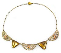 10778 1930s Amber Glass & Enamel Necklace