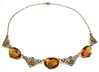 10780 Vintage Amber Glass and Brass Flower Necklace