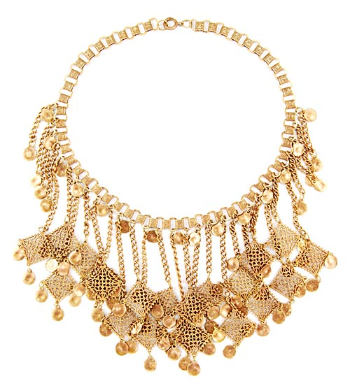 Victorian Brass Filigree Fringe Necklace - Amber's Attic (10784) :  necklace fringe victorian vintage