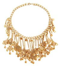 10784 Victorian Brass Filigree Fringe Necklace