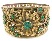 Victorian Brass Filigree and Emerald Rhinestone Cuff Bracelet - Amber's Attic (10791)