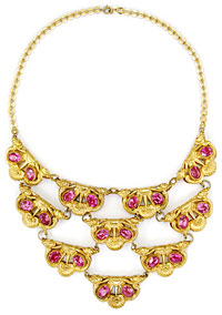 10804 Victorian Gilt and Pink Rhinestone Necklace