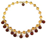 10807 Victorian Carved Amber and Brass Necklace