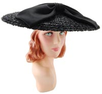 10890 Vintage 1940s Black Picture Hat