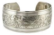 10898 Vintage Danecraft Silver Floral Cuff Bracelet