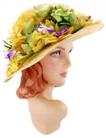 10901 Vintage 1960s Dior Floral Straw Hat