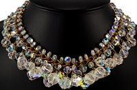10962 Vintage Crystal and Brass Fringe Necklace