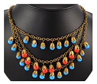 20046 Victorian Coral and Turquoise Bead Fringe Necklace