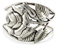 20047 Vintage 1940s Danecraft Sterling Silver Rose Cuff Bracelet